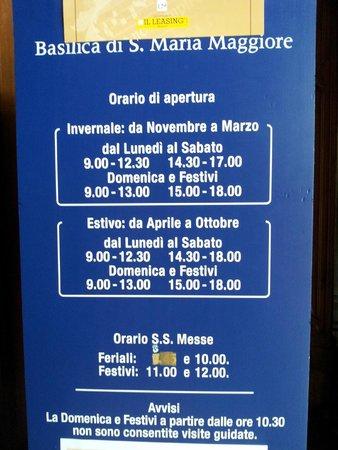 Basilica di Santa Maria Maggiore: hours