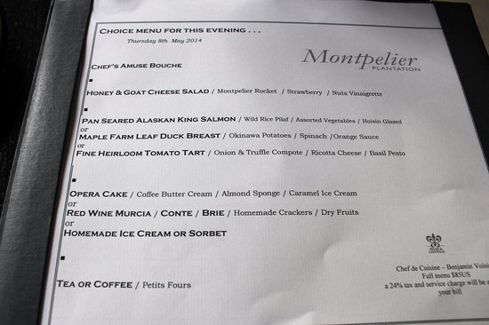 Montpelier Plantation & Beach: Dinner menu - local in local fare and very expensive