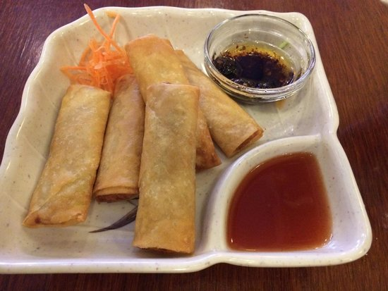 """Dragon City: Spring roll with """"chili oil"""" was fantastic...chili oil is not available on the table, so you mus"""