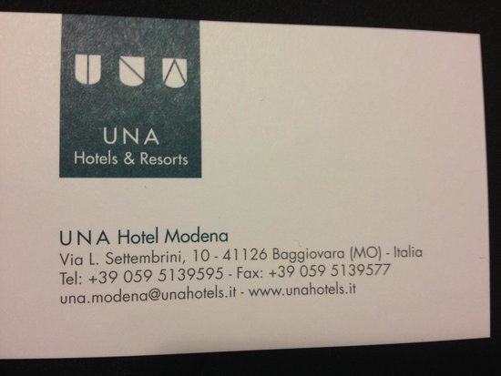 UNA Hotel Modena: Business Card