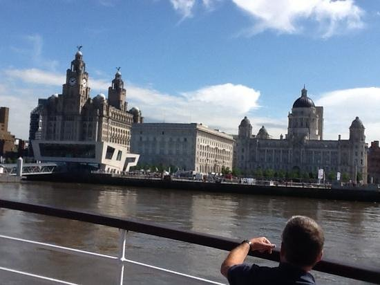 Manchester Ship Canal: The amazing Liverpool waterfront at start of cruise.