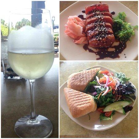 Beach Road Wine Bar and Bistro: Seared ahi tuna appetizer, caprese panini and Pinot Grigio