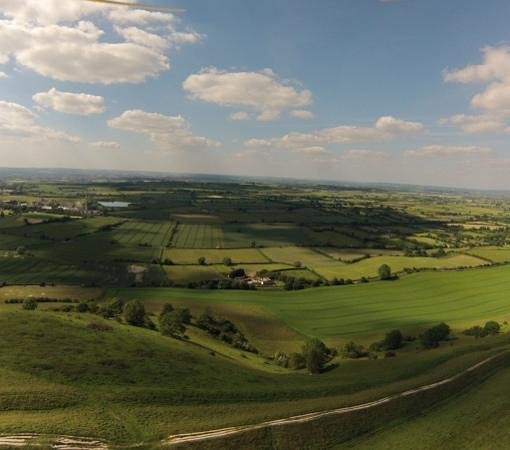 Westbury White Horse: view of the disused cement works and out towards Bath