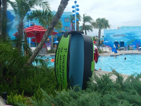 Disney's Art of Animation Resort: Sign showing pool rules at the Big Blue Pool in the Nemo section