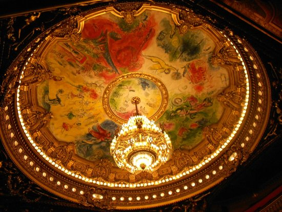 Opéra Garnier : ARAÑA PRINCIPAL Y PINTURA DE CHAGALL