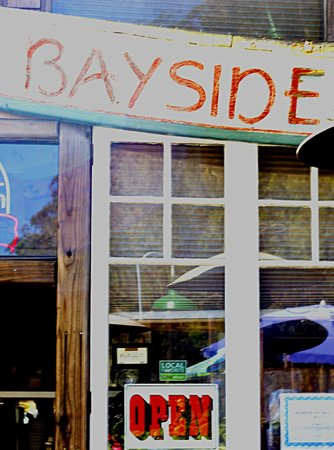 "Bayside Cafe: ""Local Favorite"" sticker in window..."