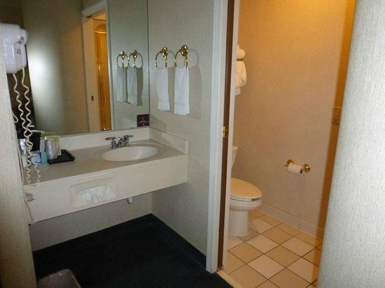 Sleep Inn: Vanity (in the room) and bathroom (stool & shower)