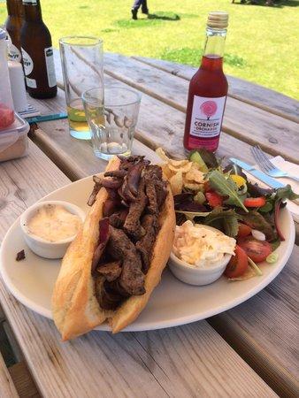 Boscastle Farm Shop : Steak baguette very very good!