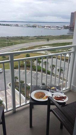 Margaritaville Beach Hotel: Room service breakfast and view from our balcony