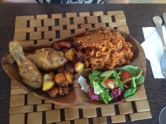 Afriteo Restaurant: Jollof rice, Plantain, fried chicken