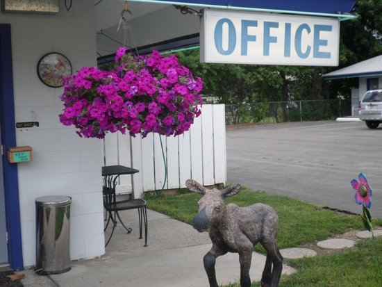 Sandman Motel: Melvin the Moose greets you with a smile