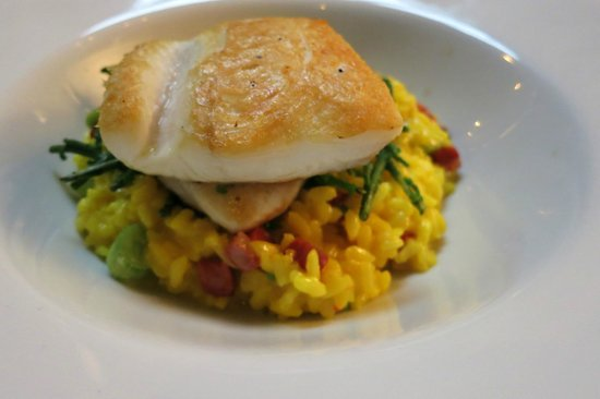 The Duncombe Arms Pub: Pan fried halibut fillet, saffron & chorizo risotto, sautéed samphire