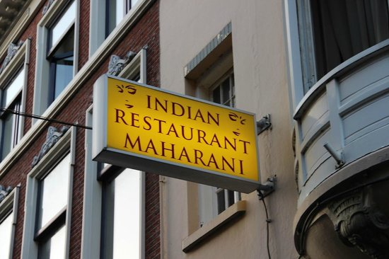 Indian Restaurant Maharani: Board announcing the Restaurant
