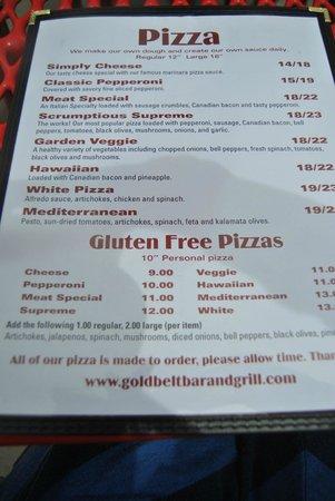 Gold Belt Bar and Grill : Menu
