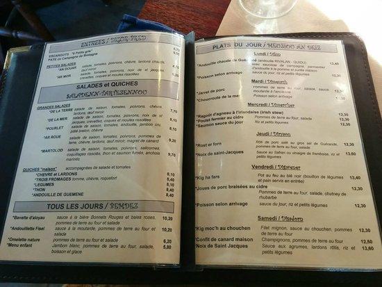 Lorient, France: Extrait du menu - Plats du jour