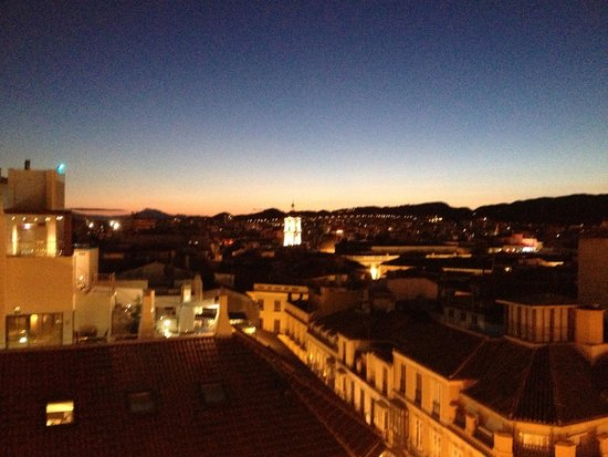 AC Hotel Malaga Palacio: night time view from balcony