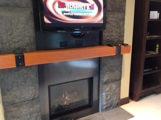 Nita Lake Lodge: fire place and tv