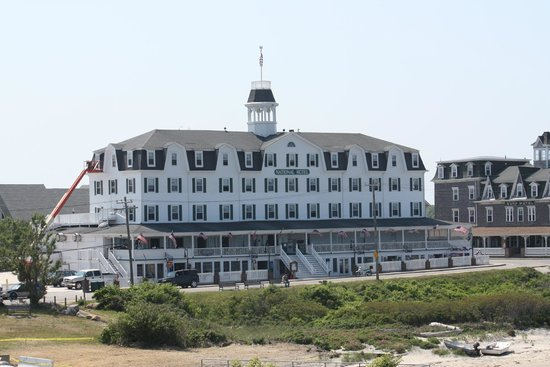 Block Island Ferry: View of one of the block island hotels from the boat