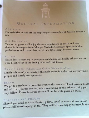 Lighthouse Bay Resort Hotel: Room guide saying the property was ALL INCLUSIVE