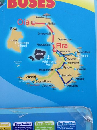 Theoxenia Boutique Hotel: map of island. Our hotel is in Fira, Oia is 20 min bus ride.