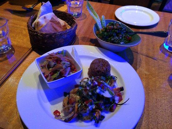 Laffé by Kanzaman: Kraidis Bi Toum (prawns) with shared Tabbouleh and Pita