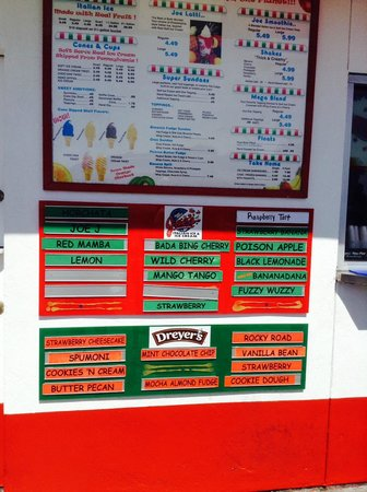 Joe's Italian Ice : today's flavors, many more are on the rotating list