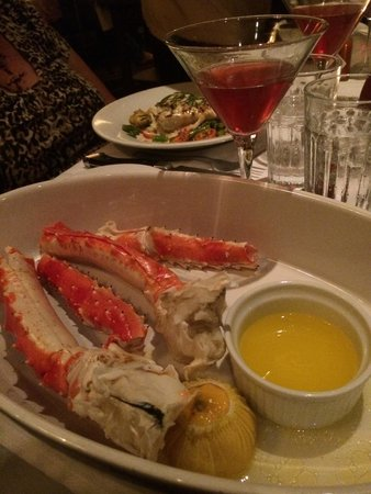 Abe & Louie's: King crab legs with a Fountain of Youth cocktail.