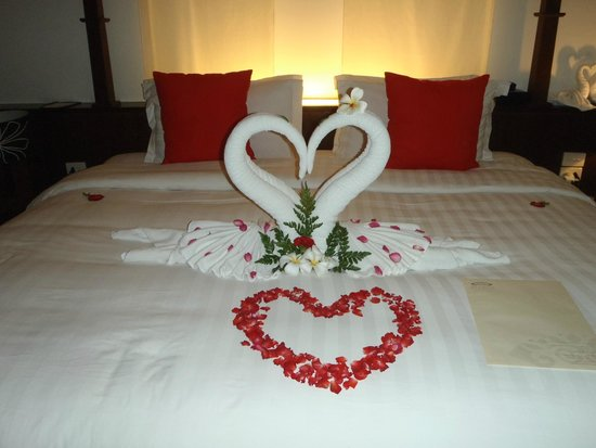 Pavilion Samui Villas & Resort: During our wedding, the staff cleaned our room and left this :-)