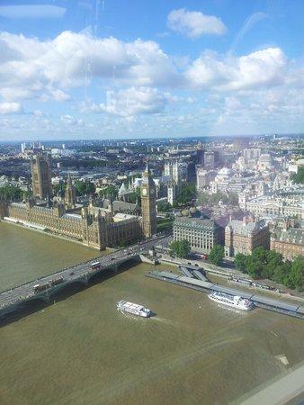 London Eye (El ojo de Londres): Vy från toppen av färden