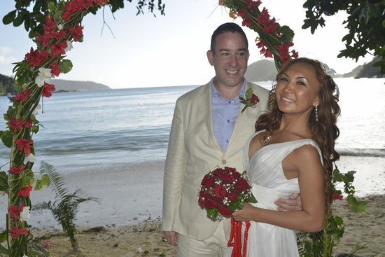 our wedding on the beach at Constance Ephelia