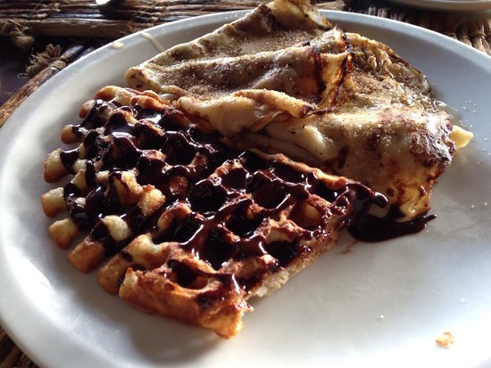 Breezes Beach Club & Spa, Zanzibar: Waffles and pancakes (honey and cinnamon sugar topped) for breakfast.