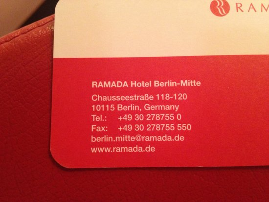 The business card of the hotel picture of h hotel berlin mitte h hotel berlin mitte the business card of the hotel colourmoves