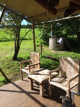 Country House Hideout at Chesters: The veranda with hot tub to the rear
