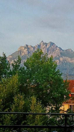 Continental-Park Hotel : Zoomed in - the 6,132' Mount Pilatus. View from the French door on our little balcony.