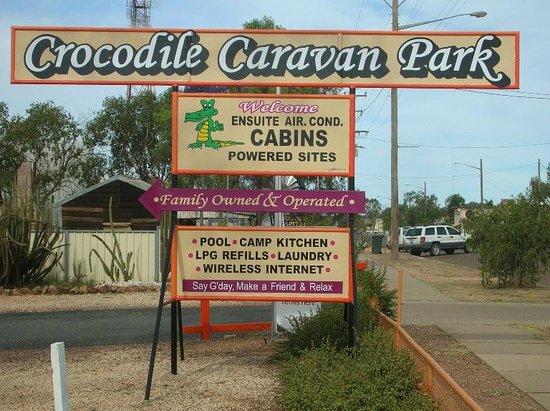 Crocodile Caravan Park: Our front sign