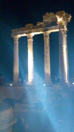 temple of apollo at night