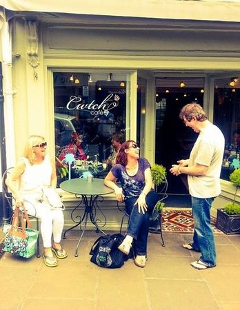 Cwtch Cafe: Street view with owner