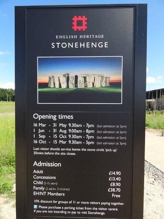 Stonehenge: Aktuelle Preisliste.