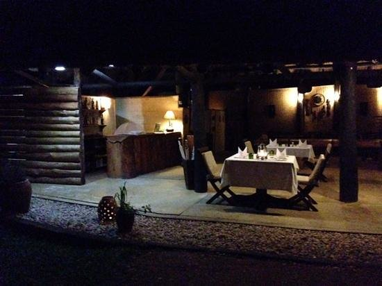 Ishasha Wilderness Camp: dining area , perfect African setting