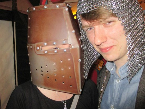 Dublinia: Experience Viking and Medieval Dublin: Trying on the medieval equipment in the markets!