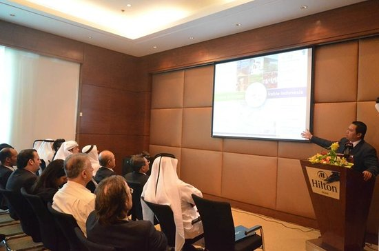 Speaking at one of the meeting rooms at Hilton Doha