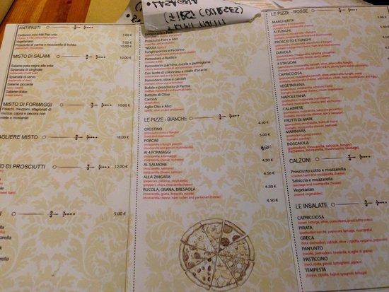 Pizzeria Pan'Unto: menù
