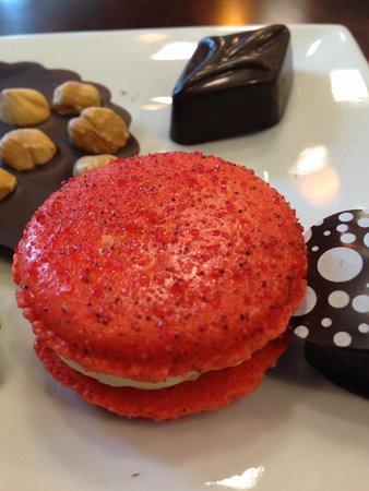 Sarah's Patisserie: diablo macaron, lemon lavender chocolate, champagne chocolate and hazelnut roulette