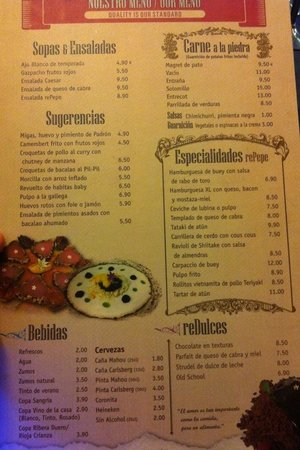 Casa rePepe Marbella: Carta del restaurante