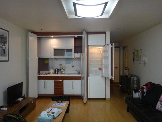 Rio House Hongdae: View of the Kitchen area & Fridge