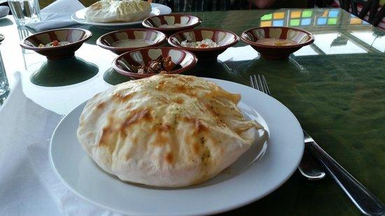 Shark Restaurant : fresh made hot pitta bread and dips