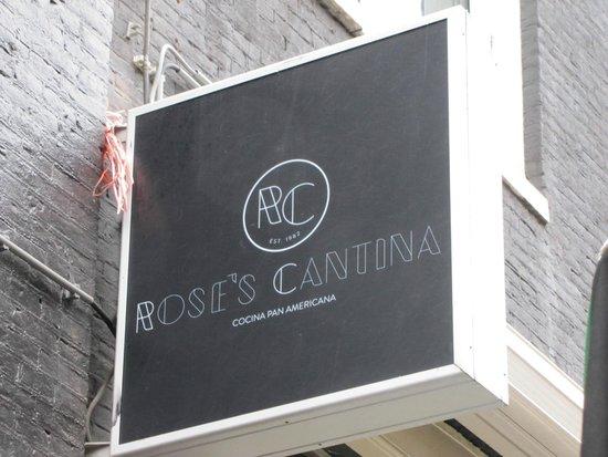 Storefront signage at Rose's Cantina