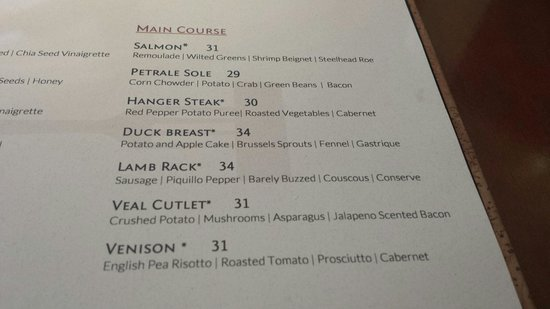 Cork Restaurant: Menu...