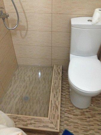 Evgenia Villas & Suites: Banheiro do segundo quarto que ficamos. Chuveiro entupido