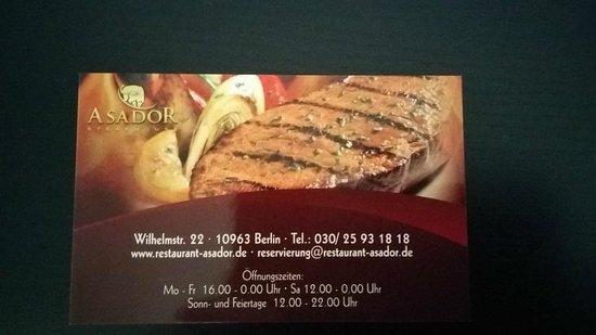 Steakhouse ASADOR: Biglietto da visita